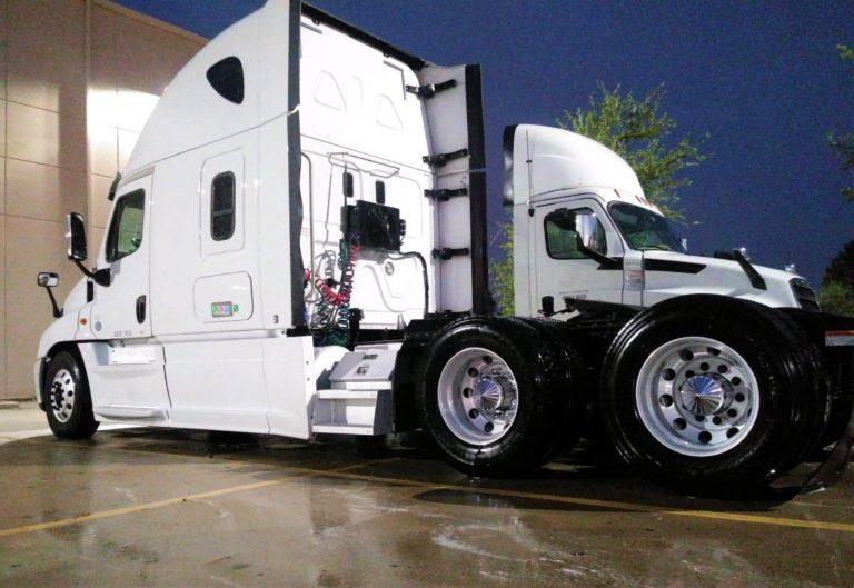 Freshly cleaned trailer trucks